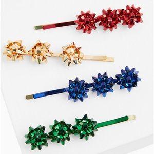 🆕 Holiday Bow Multicolour Hair Clip Set Christmas